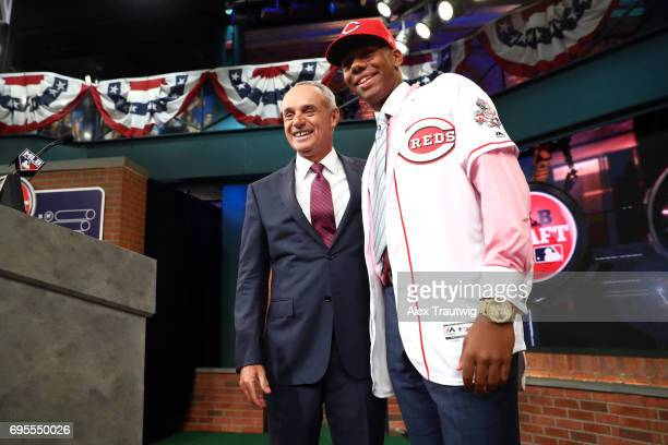 Hunter Greene poses for a photo with Major League Baseball Commissioner Robert D Manfred after being selected second overall by the Cincinnati Reds...