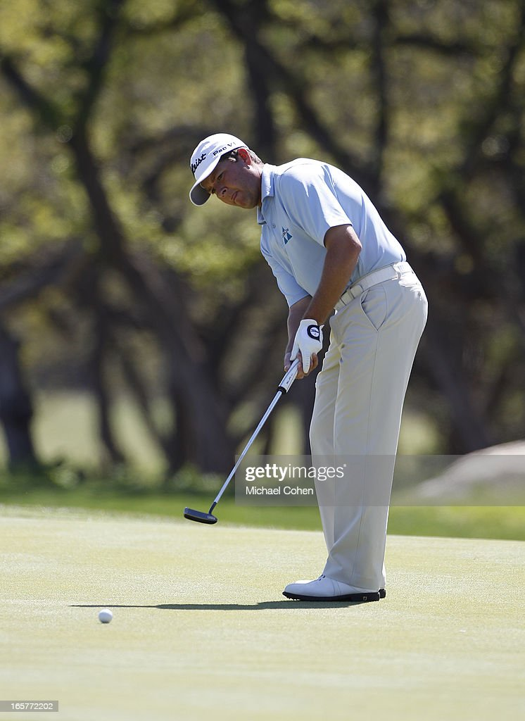 <a gi-track='captionPersonalityLinkClicked' href=/galleries/search?phrase=Hunter+Haas&family=editorial&specificpeople=878949 ng-click='$event.stopPropagation()'>Hunter Haas</a> strokes a birdie putt on the sixth green during the second round of the Valero Texas Open held at the AT&T Oaks Course at TPC San Antonio on April 5, 2013 in San Antonio, Texas.