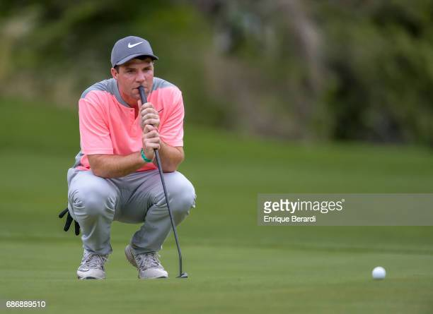Hunter Hamrick of the United States lines up a putt on the 16th hole during the continuation of the first round of the PGA TOUR Latinoamerica...