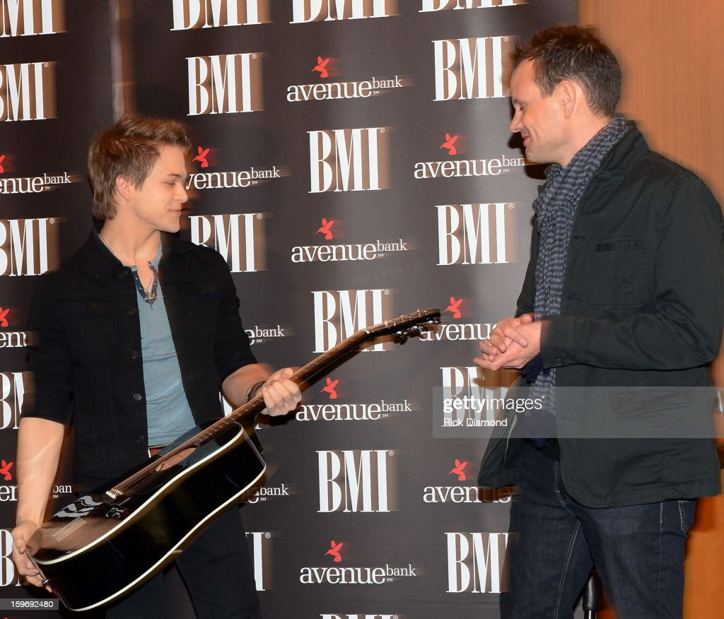 <a gi-track='captionPersonalityLinkClicked' href=/galleries/search?phrase=Hunter+Hayes&family=editorial&specificpeople=3290701 ng-click='$event.stopPropagation()'>Hunter Hayes</a> co-writer receives a guitar from BMI and Troy Verges co-writer attend the 'Wanted' No 1 Party on January 17, 2013 in Nashville, Tennessee.