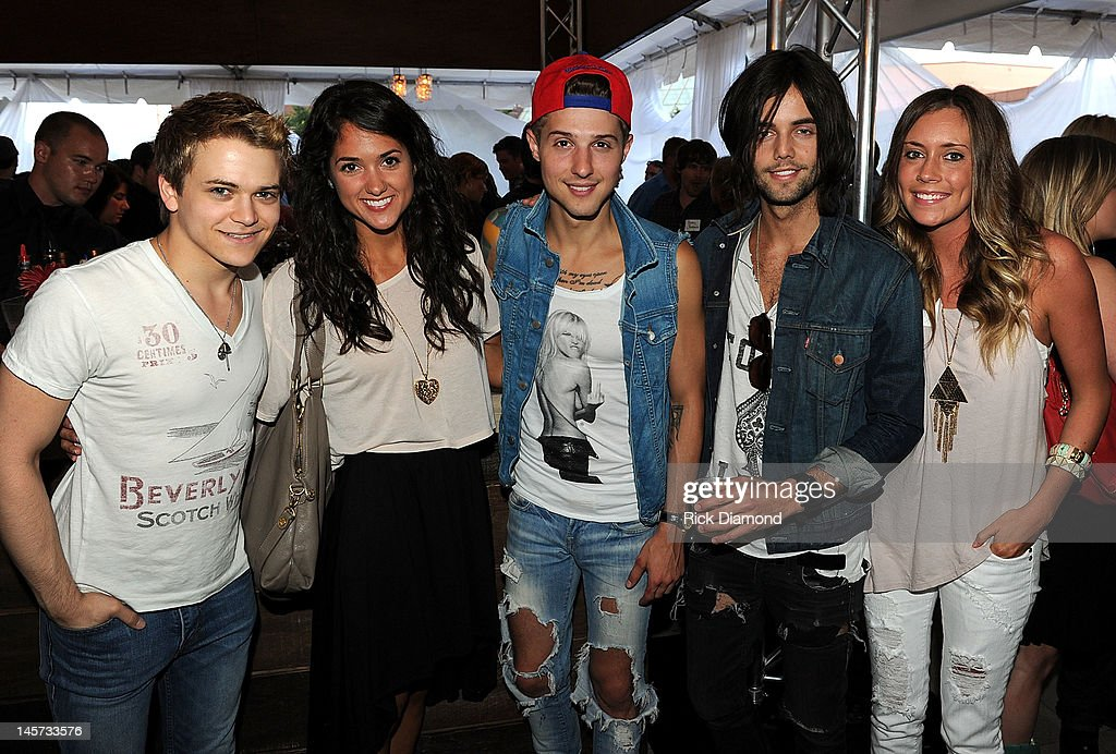 Hunter Hayes, Morgan Crosson, Hot Chelle Rae's Ryan Follesse and Ian Keaggy, and Maggie Eckford celebrate the new CAA Nashville offices at the 20th Annual CAA BBQ on June 4, 2012 in Nashville, Tennessee.