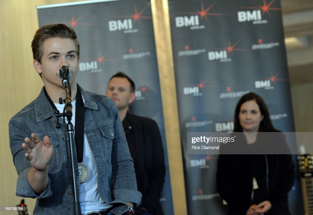 <a gi-track='captionPersonalityLinkClicked' href=/galleries/search?phrase=Hunter+Hayes&family=editorial&specificpeople=3290701 ng-click='$event.stopPropagation()'>Hunter Hayes</a> with co-writers Troy Verges and Lori McKenna attend the BMI and <a gi-track='captionPersonalityLinkClicked' href=/galleries/search?phrase=Hunter+Hayes&family=editorial&specificpeople=3290701 ng-click='$event.stopPropagation()'>Hunter Hayes</a> Celebration of their No. 1 Song 'I Want Crazy' at BMI offices In Nashville on October 8, 2013 in Nashville, Tennessee.