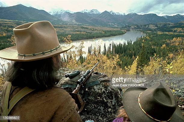 Hunter in Alaska United States The landscape and moose hunters