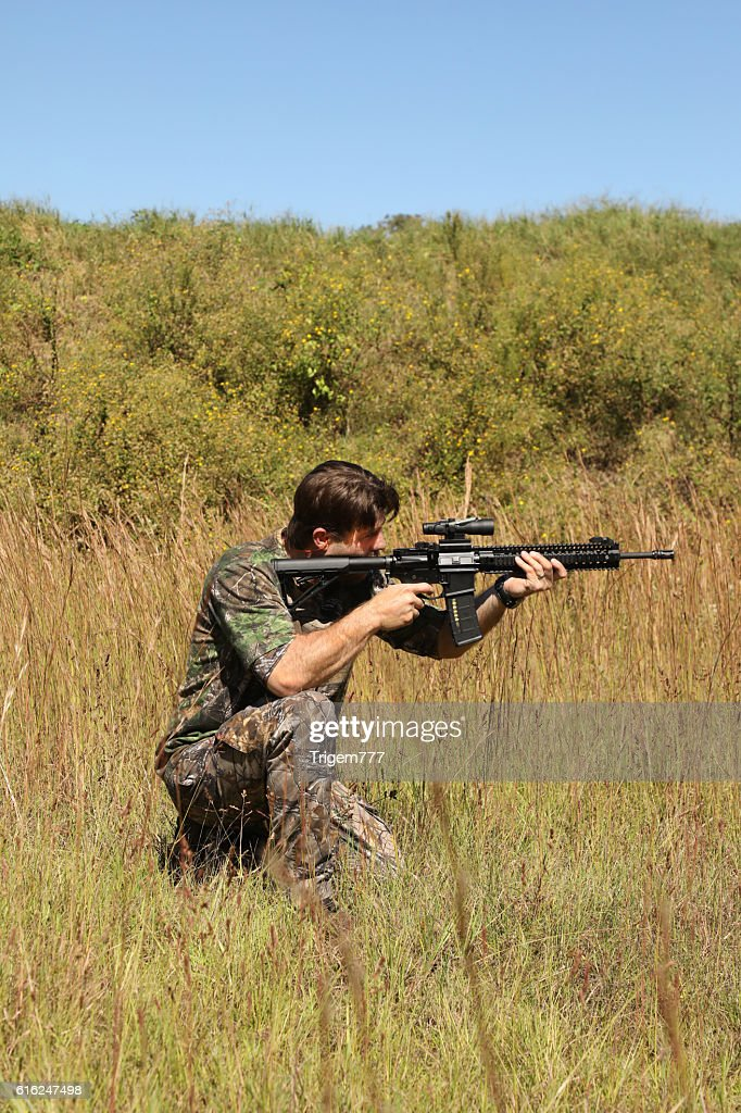 Hunter In Camo : Stock Photo