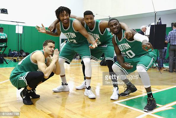 RJ Hunter James Young Jordan Mickey and Ben Bentil of the Boston Celtics pose during Boston Celtics Media Day on September 26 2016 in Waltham...
