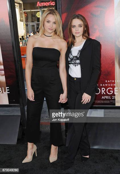 Hunter King and sister Joey King arrive at the Los Angeles Premiere 'Unforgettable' at TCL Chinese Theatre on April 18 2017 in Hollywood California