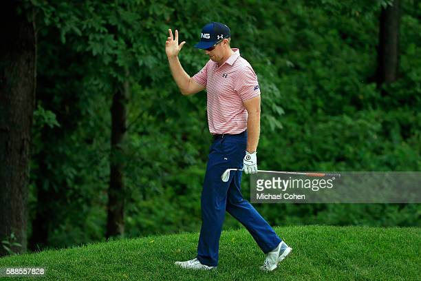 Hunter Mahan acknowledges the crowd on the ninth hole during the first round of the John Deere Classic at TPC Deere Run on August 11 2016 in Silvis...