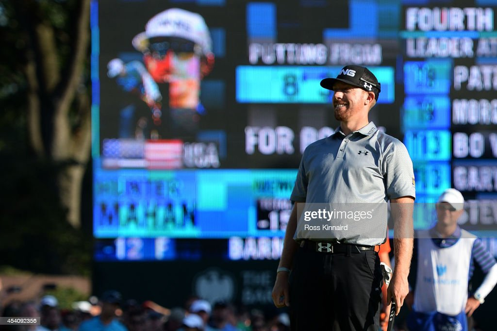 <a gi-track='captionPersonalityLinkClicked' href=/galleries/search?phrase=Hunter+Mahan&family=editorial&specificpeople=885292 ng-click='$event.stopPropagation()'>Hunter Mahan</a> celebrates as he finishes on the 18th green during the final round of The Barclays at The Ridgewood Country Club on August 24, 2014 in Paramus, New Jersey.