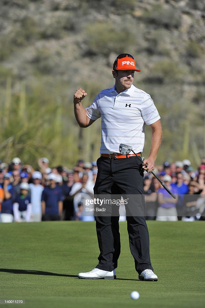 Hunter Mahan celebrates on the 17th hole winning the championship match of the final round of the World Golf ChampionshipsAccenture Match Play...
