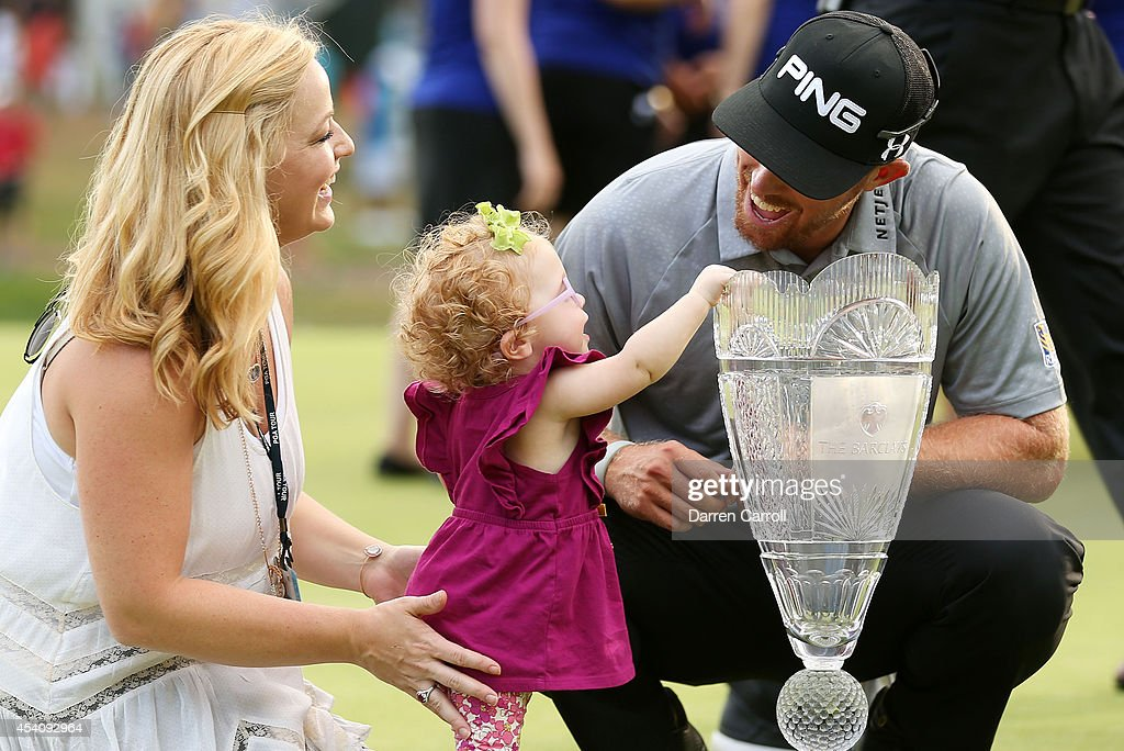 <a gi-track='captionPersonalityLinkClicked' href=/galleries/search?phrase=Hunter+Mahan&family=editorial&specificpeople=885292 ng-click='$event.stopPropagation()'>Hunter Mahan</a> celebrates with his wife Kandi, daughter Zoe and the tournament trophy after winning of The Barclays at The Ridgewood Country Club on August 24, 2014 in Paramus, New Jersey.