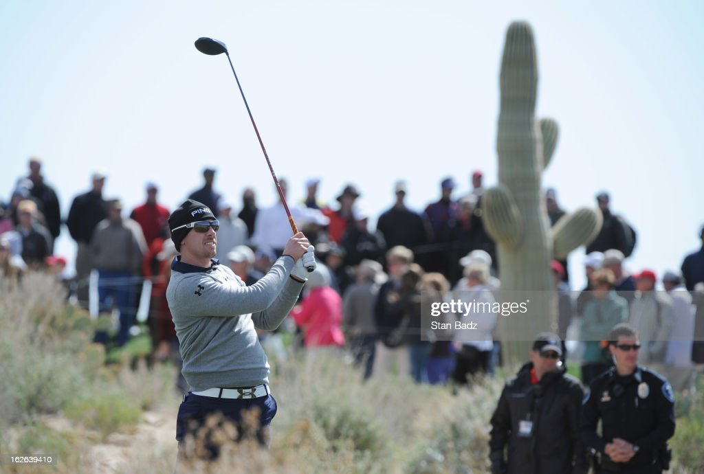 Hunter Mahan hits a drive on the fifth hole during the final round of the World Golf Championships-Accenture Match Play Championship at The Golf Club at Dove Mountain on February 24, 2013 in Marana, Arizona.