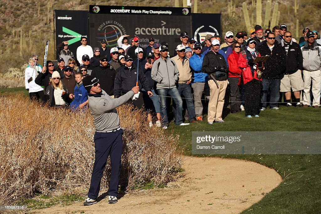 Hunter Mahan hits a shot out of the bunker on the 17th hole during the final round of the World Golf Championships - Accenture Match Play at the Golf Club at Dove Mountain on February 24, 2013 in Marana, Arizona.