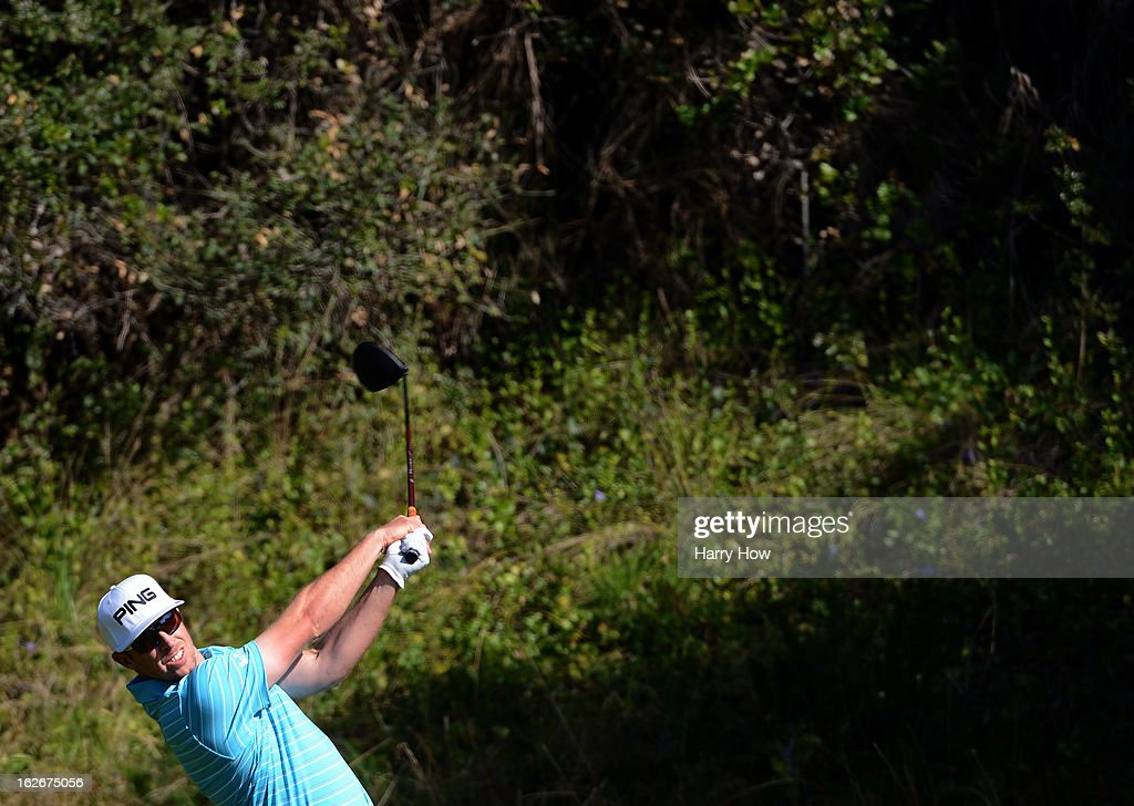 Hunter Mahan hits a tee shot on the 13th hole during the final round of the Northern Trust Open at the Riviera Country Club on February 17, 2013 in Pacific Palisades, California.