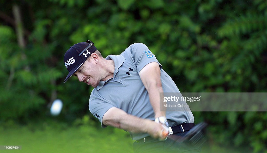 Hunter Mahan hits his drive on the 12th hole during the first round of the Travelers Championship held at TPC River Highlands on June 20, 2013 in Cromwell, Connecticut.
