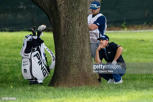 Hunter Mahan hits his tee shot behind a tree on during the second round of the Crowne Plaza Invitational at Colonial in Fort Worth TX