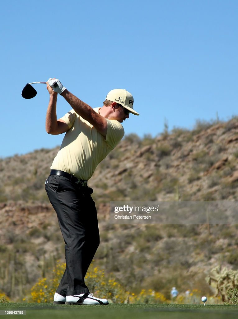 Hunter Mahan hits his tee shot on the 11th hole during the quarterfinal round of the World Golf ChampionshipsAccenture Match Play Championship at the...