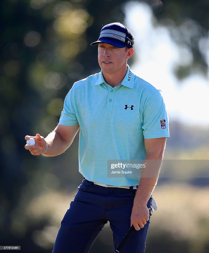 <a gi-track='captionPersonalityLinkClicked' href=/galleries/search?phrase=Hunter+Mahan&family=editorial&specificpeople=885292 ng-click='$event.stopPropagation()'>Hunter Mahan</a> makes birdie on the tenth hole during the third round of the World Golf Championships-Cadillac Championship at Trump National Doral on March 8, 2014 in Doral, Florida.