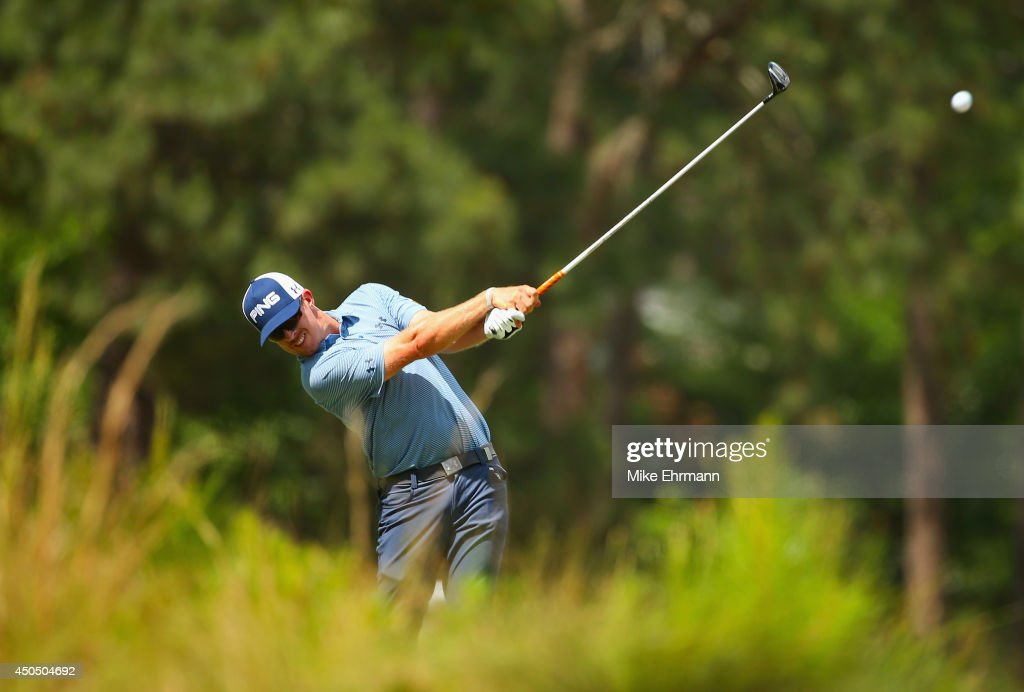 Hunter Mahan of the United States hits a tee shot on the seventh hole during the first round of the 114th U.S. Open at Pinehurst Resort & Country Club, Course No. 2 on June 12, 2014 in Pinehurst, North Carolina.