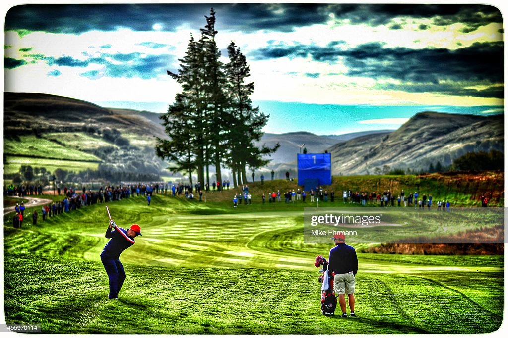Hunter Mahan of the United States hits an approach shot on the 1st hole during practice ahead of the 2014 Ryder Cup on the PGA Centenary course at...