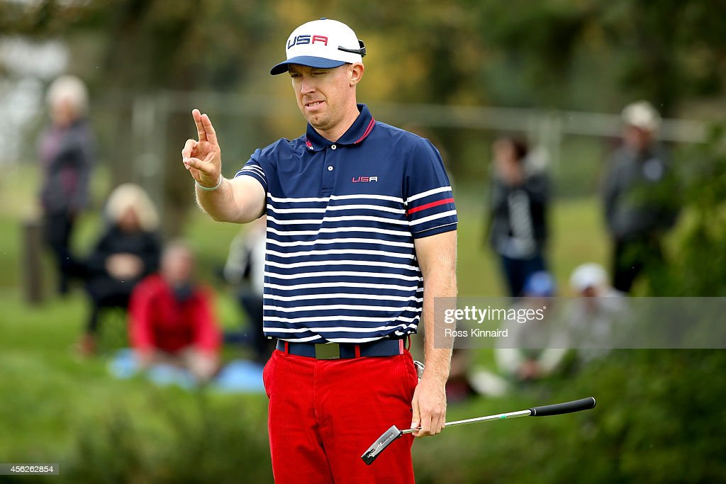 <a gi-track='captionPersonalityLinkClicked' href=/galleries/search?phrase=Hunter+Mahan&family=editorial&specificpeople=885292 ng-click='$event.stopPropagation()'>Hunter Mahan</a> of the United States lines up a putt during the Singles Matches of the 2014 Ryder Cup on the PGA Centenary course at the Gleneagles Hotel on September 28, 2014 in Auchterarder, Scotland.