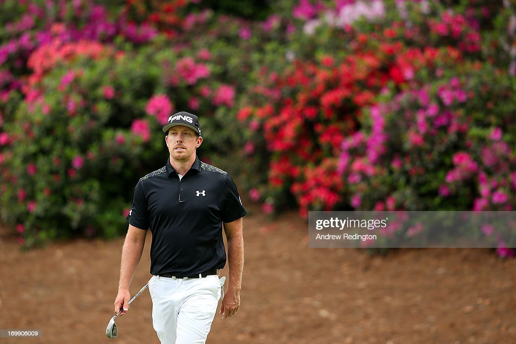 Hunter Mahan of the United States looks on from the 13th hole during the first round of the 2013 Masters Tournament at Augusta National Golf Club on April 11, 2013 in Augusta, Georgia.