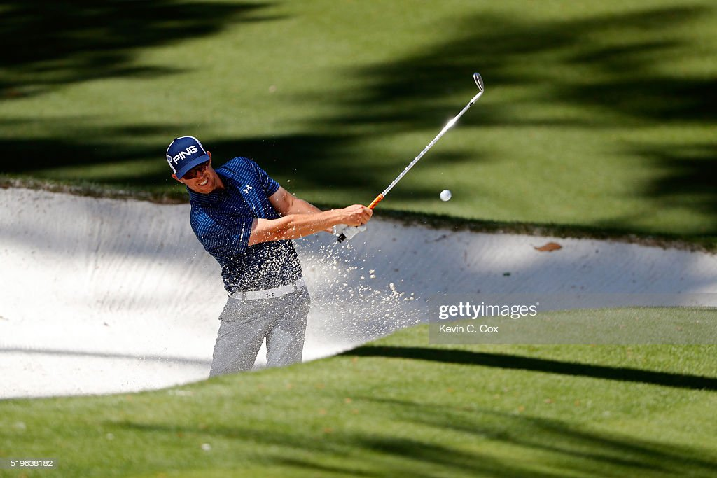 Hunter Mahan of the United States plays a shot from a bunker on the tenth hole during the first round of the 2016 Masters Tournament at Augusta National Golf Club on April 7, 2016 in Augusta, Georgia.