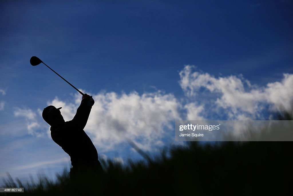 <a gi-track='captionPersonalityLinkClicked' href=/galleries/search?phrase=Hunter+Mahan&family=editorial&specificpeople=885292 ng-click='$event.stopPropagation()'>Hunter Mahan</a> of the United States tees off on the 14th hole during the Morning Fourballs of the 2014 Ryder Cup on the PGA Centenary course at the Gleneagles Hotel on September 27, 2014 in Auchterarder, Scotland.
