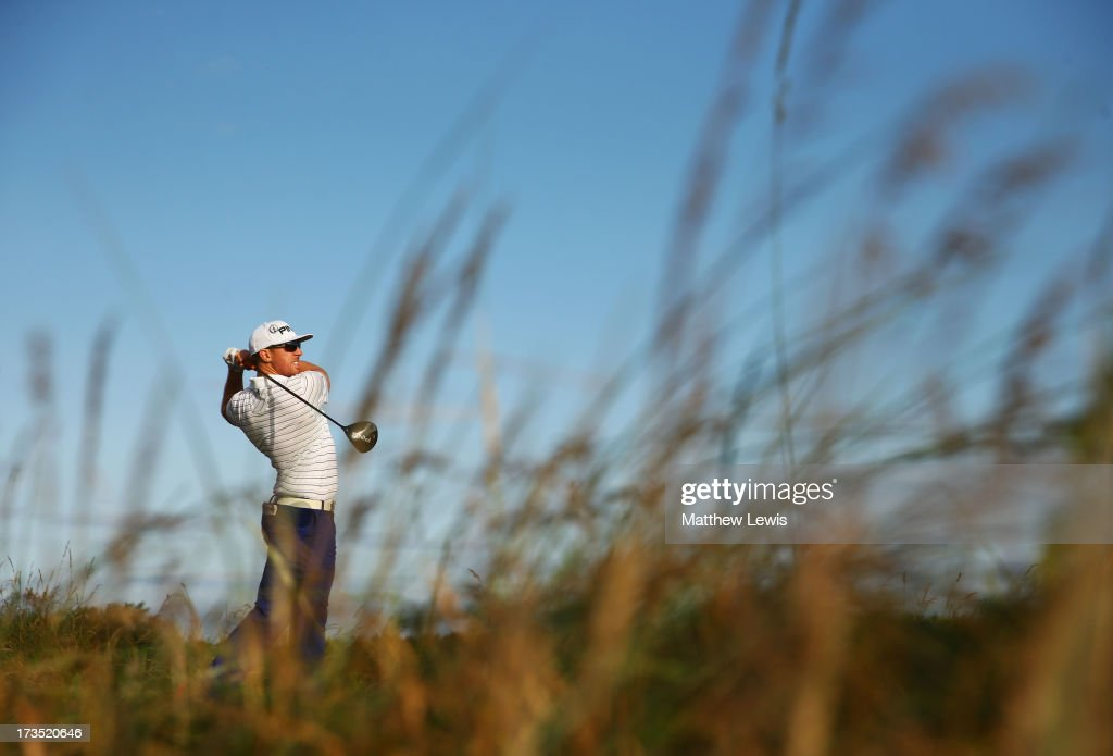 Hunter Mahan of the United States tees off on the 5th ahead of the 142nd Open Championship at Muirfield on July 16, 2013 in Gullane, Scotland.