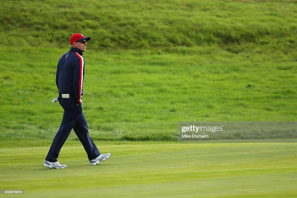 <a gi-track='captionPersonalityLinkClicked' href=/galleries/search?phrase=Hunter+Mahan&family=editorial&specificpeople=885292 ng-click='$event.stopPropagation()'>Hunter Mahan</a> of the United States walks down a fairway during practice ahead of the 2014 Ryder Cup on the PGA Centenary course at the Gleneagles Hotel on September 23, 2014 in Auchterarder, Scotland.