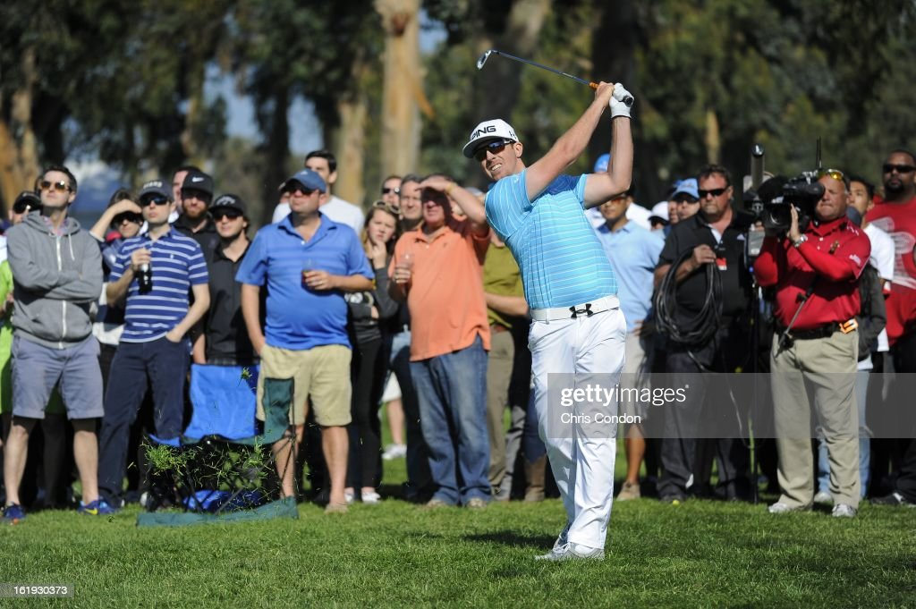 Hunter Mahan on the 15th hole during the final round of the Northern Trust Open at Riviera Country Club on February 17, 2013 in Pacific Palisades, California.