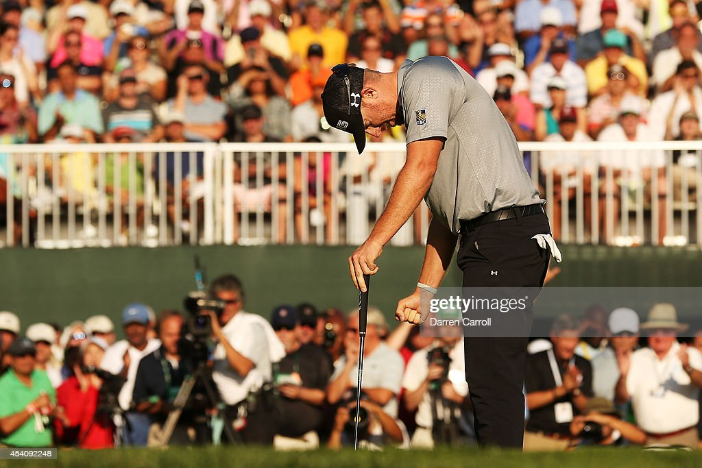 <a gi-track='captionPersonalityLinkClicked' href=/galleries/search?phrase=Hunter+Mahan&family=editorial&specificpeople=885292 ng-click='$event.stopPropagation()'>Hunter Mahan</a> reacts as he finishes on the 18th green during the final round of The Barclays at The Ridgewood Country Club on August 24, 2014 in Paramus, New Jersey.
