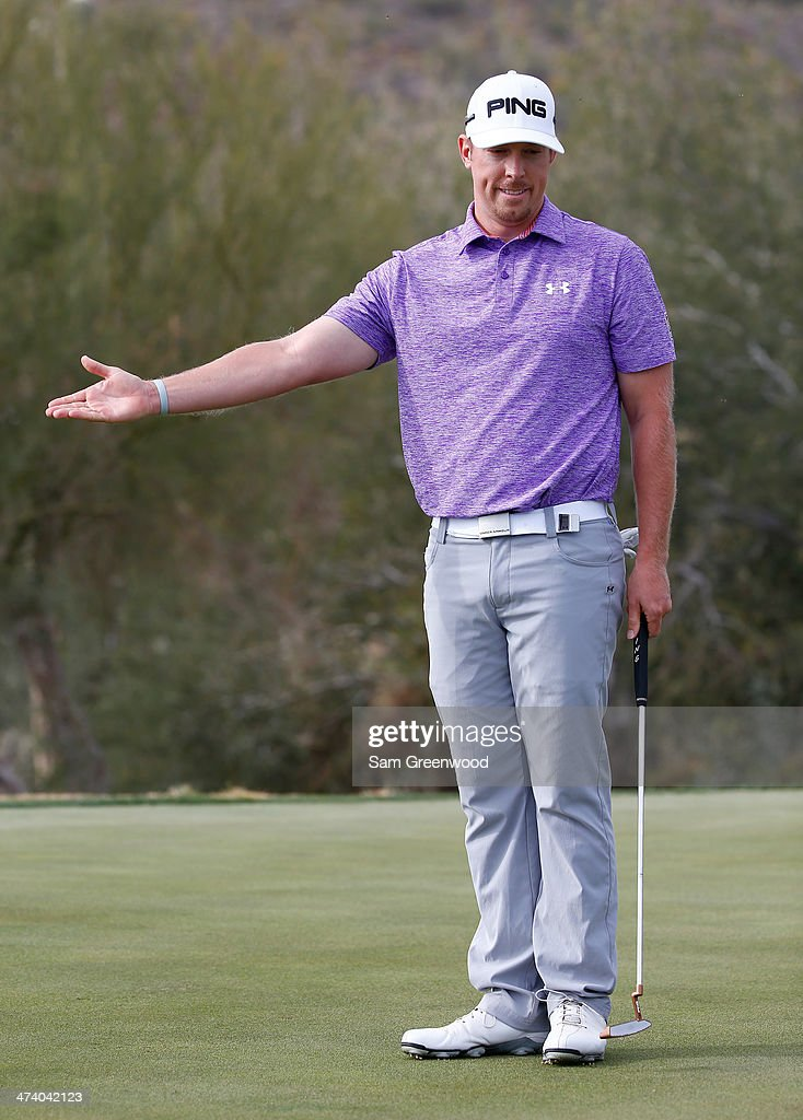 Hunter Mahan reacts to a putt on the 17th hole during the third round of the World Golf Championships - Accenture Match Play Championship at The Golf Club at Dove Mountain on February 21, 2014 in Marana, Arizona.