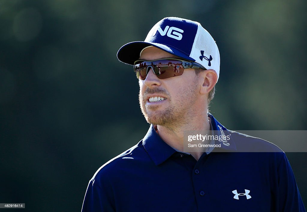 <a gi-track='captionPersonalityLinkClicked' href=/galleries/search?phrase=Hunter+Mahan&family=editorial&specificpeople=885292 ng-click='$event.stopPropagation()'>Hunter Mahan</a> smiles during a practice round for the World Golf Championships-Bridgestone Invitational at Firestone Country Club South Course on August 4, 2015 in Akron, Ohio.