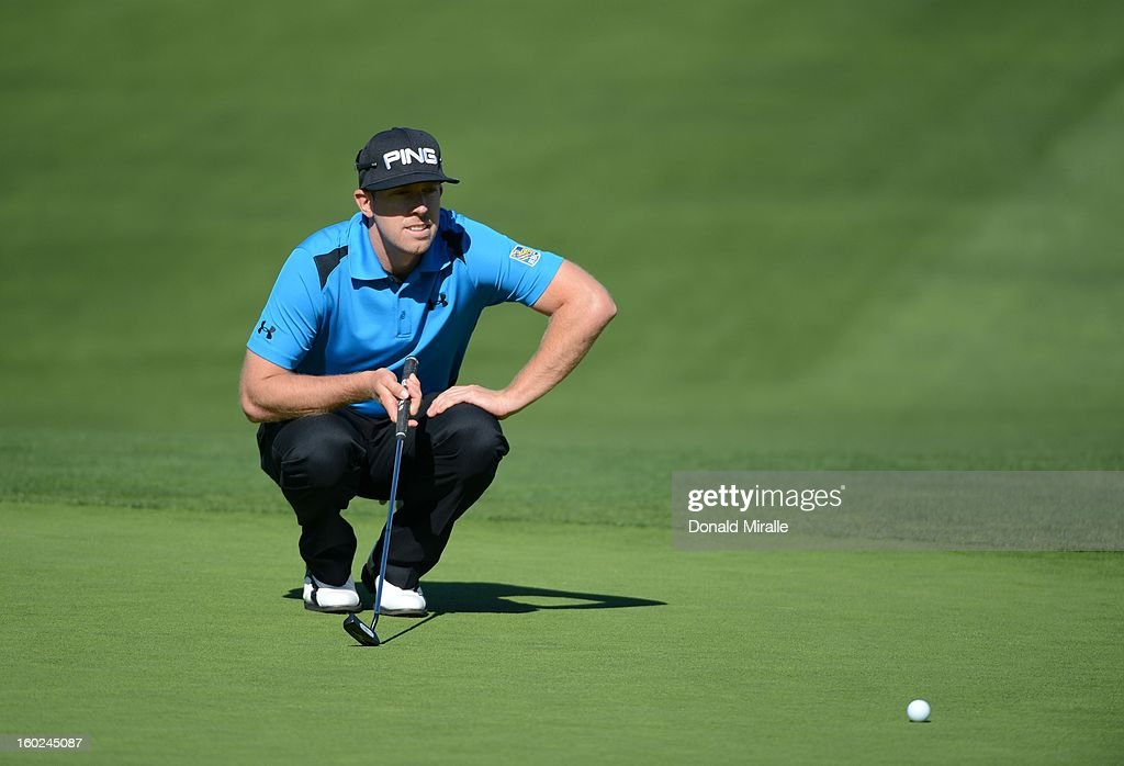 Hunter Mahan studies the 9th green during the Final Round at the Farmers Insurance Open at Torrey Pines Golf Course on January 28, 2013 in La Jolla, California.