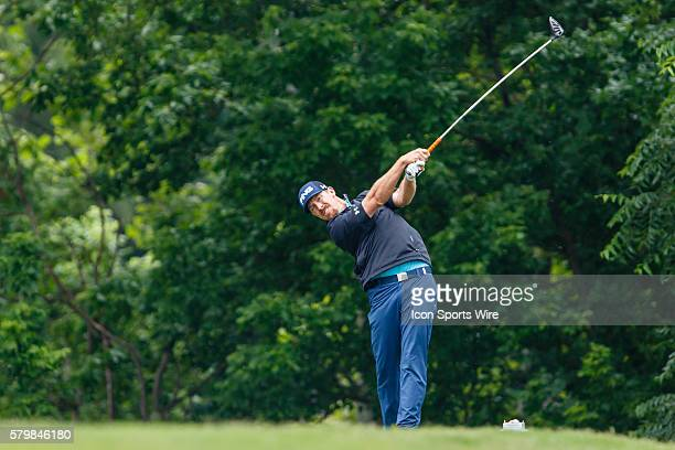 Hunter Mahan tees off on during the second round of the Crowne Plaza Invitational at Colonial in Fort Worth TX