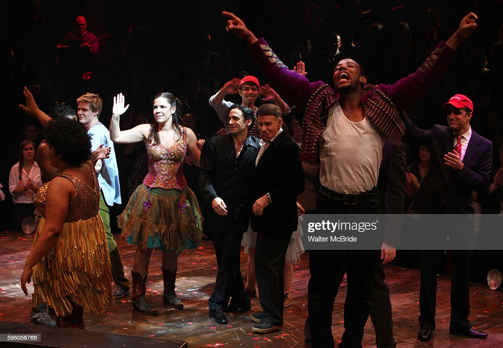 Hunter Parrish Company with Christopher Gattelli Stephen Schwartz Ken Davenport during the Opening Night Performance Curtain Call for the Broadway...