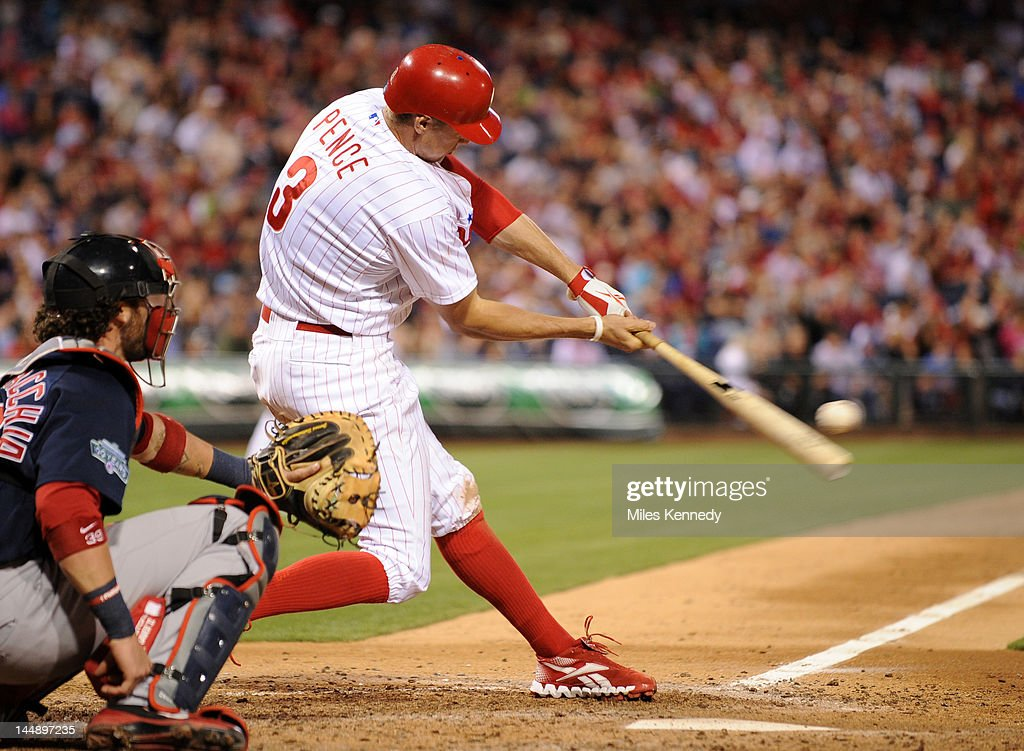 <a gi-track='captionPersonalityLinkClicked' href=/galleries/search?phrase=Hunter+Pence&family=editorial&specificpeople=757341 ng-click='$event.stopPropagation()'>Hunter Pence</a> #3 of the Philadelphia Phillies hits a home run against the Boston Red Sox in the fifth inning on May 18, 2012 at Citizens Bank Park in Philadelphia, Pennsylvania. The Phillies won 6-4.
