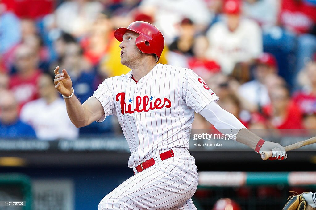 <a gi-track='captionPersonalityLinkClicked' href=/galleries/search?phrase=Hunter+Pence&family=editorial&specificpeople=757341 ng-click='$event.stopPropagation()'>Hunter Pence</a> #3 of the Philadelphia Phillies hits a triple in the first inning of the game against the Pittsburgh Pirates at Citizens Bank Park on June 26, 2012 in Philadelphia, Pennsylvania.