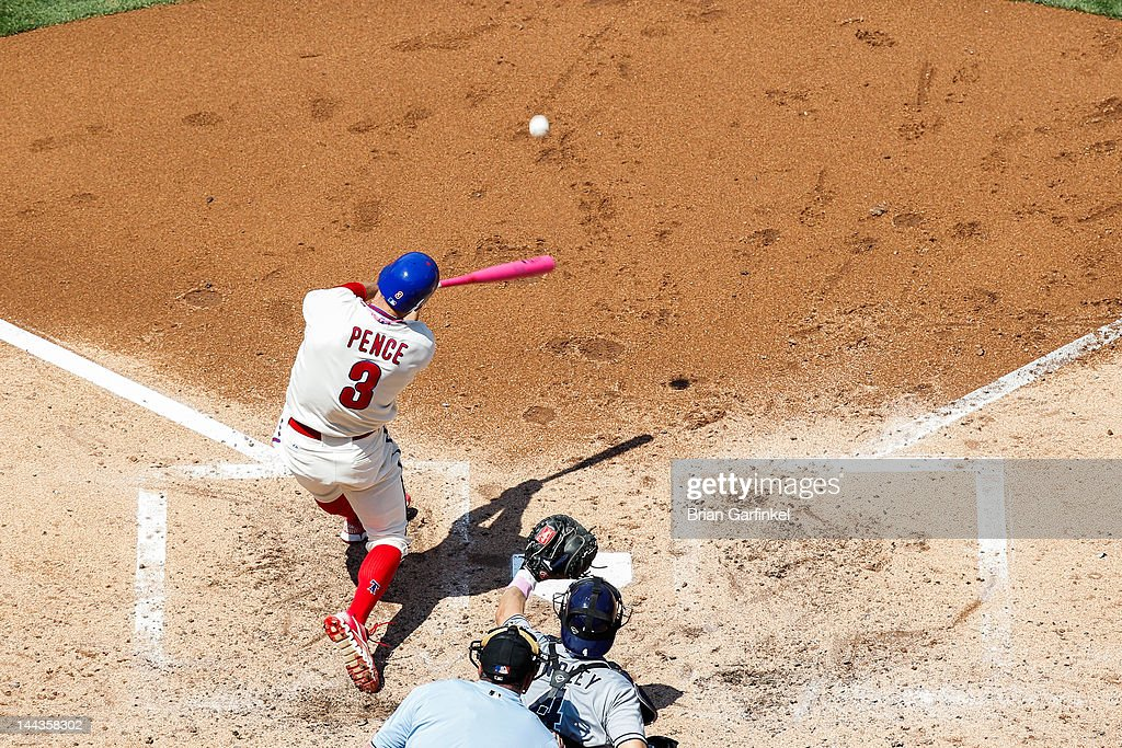 <a gi-track='captionPersonalityLinkClicked' href=/galleries/search?phrase=Hunter+Pence&family=editorial&specificpeople=757341 ng-click='$event.stopPropagation()'>Hunter Pence</a> #3 of the Philadelphia Phillies hits the ball during the game against the San Diego Padres at Citizens Bank Park on May 13, 2012 in Philadelphia, Pennsylvania. The Phillies won 3-2.