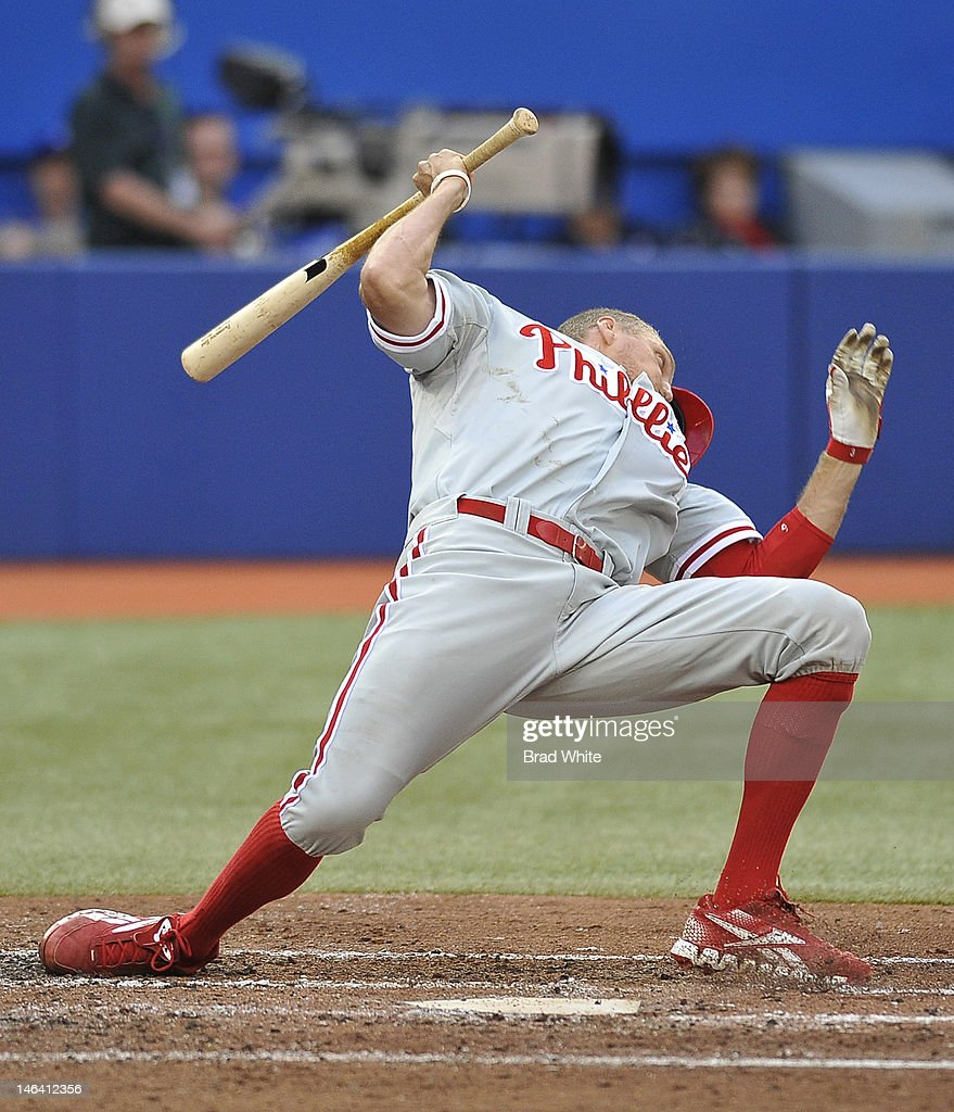 Hunter Pence #3 of the Philadelphia Phillies reacts to an inside pitch during interleague MLB game action against the Toronto Blue Jays June 15, 2012 at Rogers Centre in Toronto, Ontario, Canada.