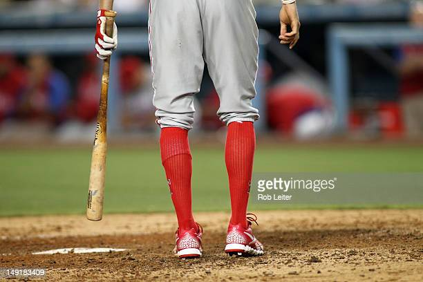 Hunter Pence of the Philadelphia Phillies shows off his high socks during the game against the Los Angeles Dodgers at Dodger Stadium on July 17 2012...