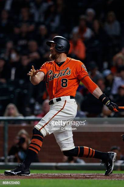Hunter Pence of the San Francisco Giants at bat against the San Diego Padres during the first inning at ATT Park on September 29 2017 in San...