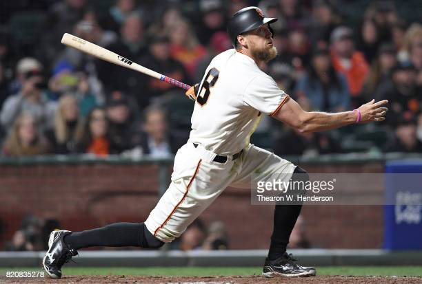 Hunter Pence of the San Francisco Giants bats against the Cleveland Indians in the bottom of the ninth inning at ATT Park on July 18 2017 in San...