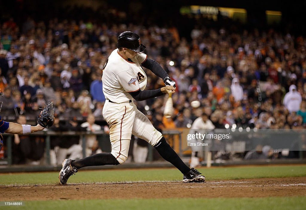 <a gi-track='captionPersonalityLinkClicked' href=/galleries/search?phrase=Hunter+Pence&family=editorial&specificpeople=757341 ng-click='$event.stopPropagation()'>Hunter Pence</a> #8 of the San Francisco Giants bats against the New York Mets at AT&T Park on July 8, 2013 in San Francisco, California.