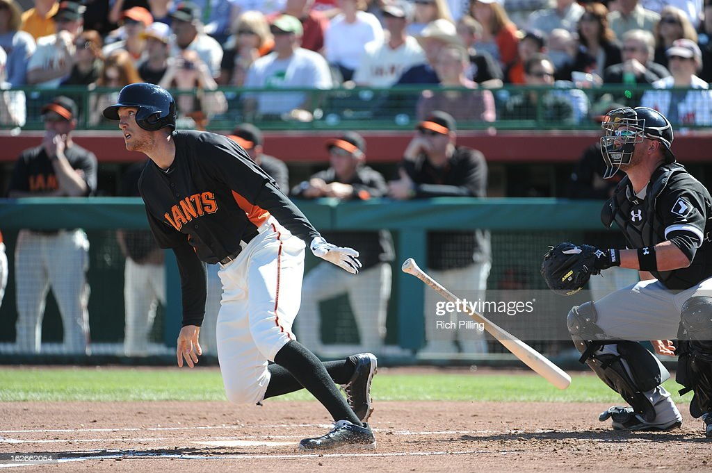 <a gi-track='captionPersonalityLinkClicked' href=/galleries/search?phrase=Hunter+Pence&family=editorial&specificpeople=757341 ng-click='$event.stopPropagation()'>Hunter Pence</a> #8 of the San Francisco Giants bats during the game against the Chicago White Sox on February 25, 2013 at Scottsdale Stadium in Scottsdale, Arizona. The Giants and White Sox played to a 9-9 tie.