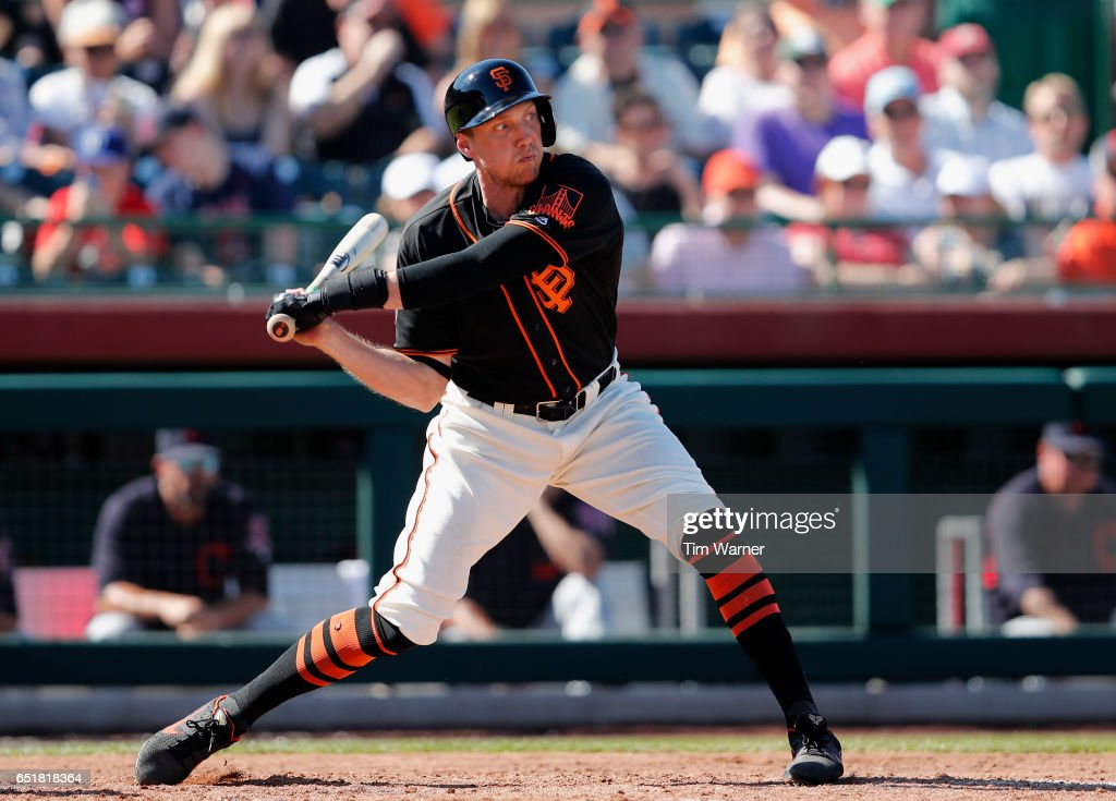 Hunter Pence #8 of the San Francisco Giants bats in the fifth inning against the Cleveland Indians during the spring training game at Scottsdale Stadium on March 10, 2017 in Scottsdale, Arizona.