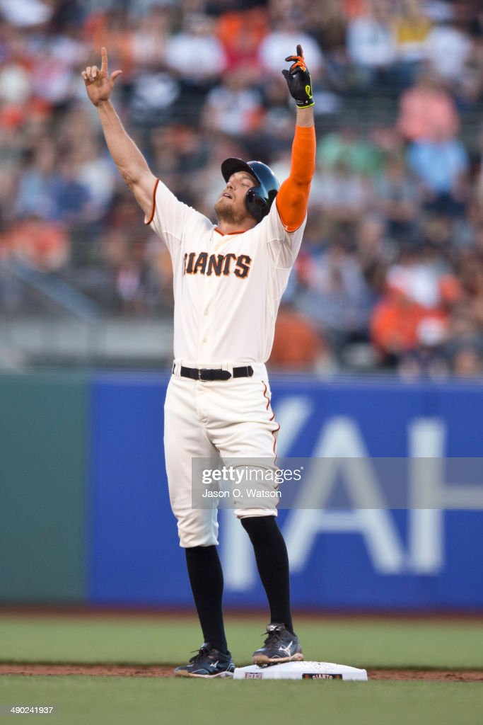 <a gi-track='captionPersonalityLinkClicked' href=/galleries/search?phrase=Hunter+Pence&family=editorial&specificpeople=757341 ng-click='$event.stopPropagation()'>Hunter Pence</a> #8 of the San Francisco Giants celebrates at second base after hitting a double against the Atlanta Braves during the first inning at AT&T Park on May 13, 2014 in San Francisco, California.