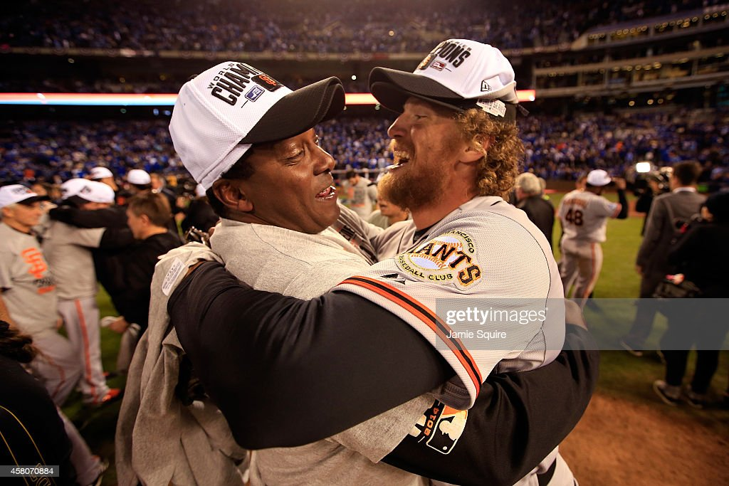 Hunter Pence #8 of the San Francisco Giants celebrates on the field after defeating the the Kansas City Royals 3-2 to win Game Seven of the 2014 World Series at Kauffman Stadium on October 29, 2014 in Kansas City, Missouri.