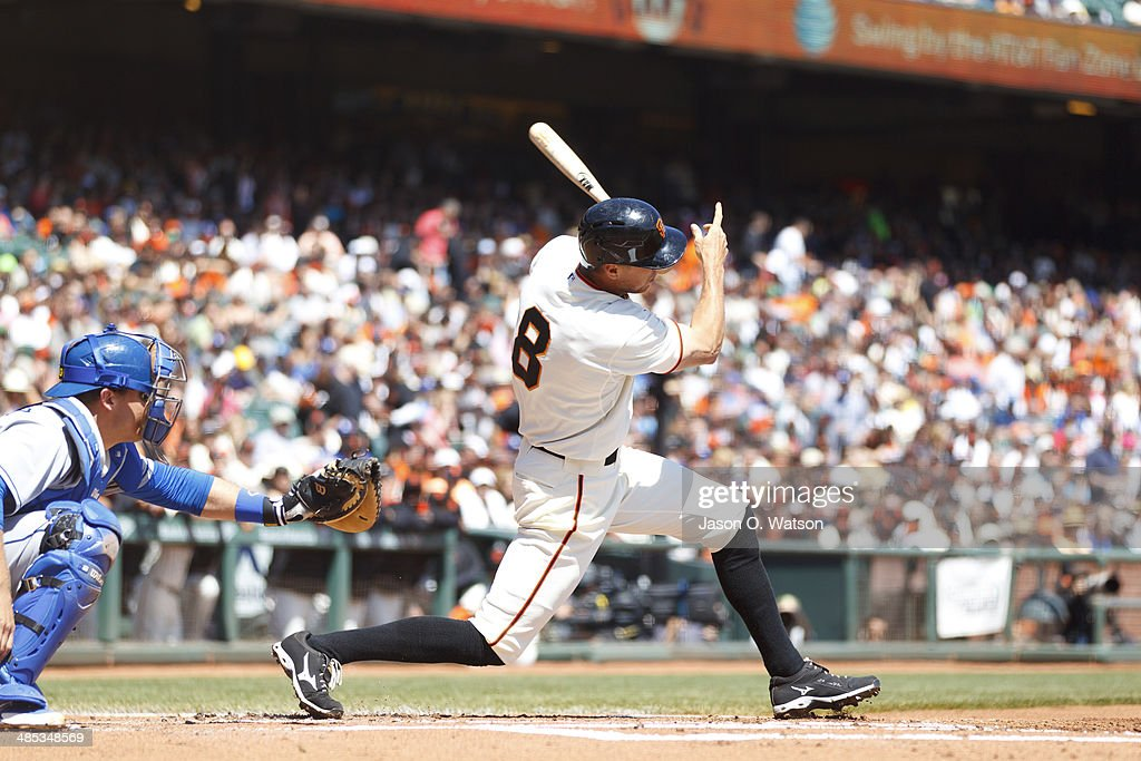 <a gi-track='captionPersonalityLinkClicked' href=/galleries/search?phrase=Hunter+Pence&family=editorial&specificpeople=757341 ng-click='$event.stopPropagation()'>Hunter Pence</a> #8 of the San Francisco Giants hits a single against the Los Angeles Dodgers during the first inning at AT&T Park on April 17, 2014 in San Francisco, California.