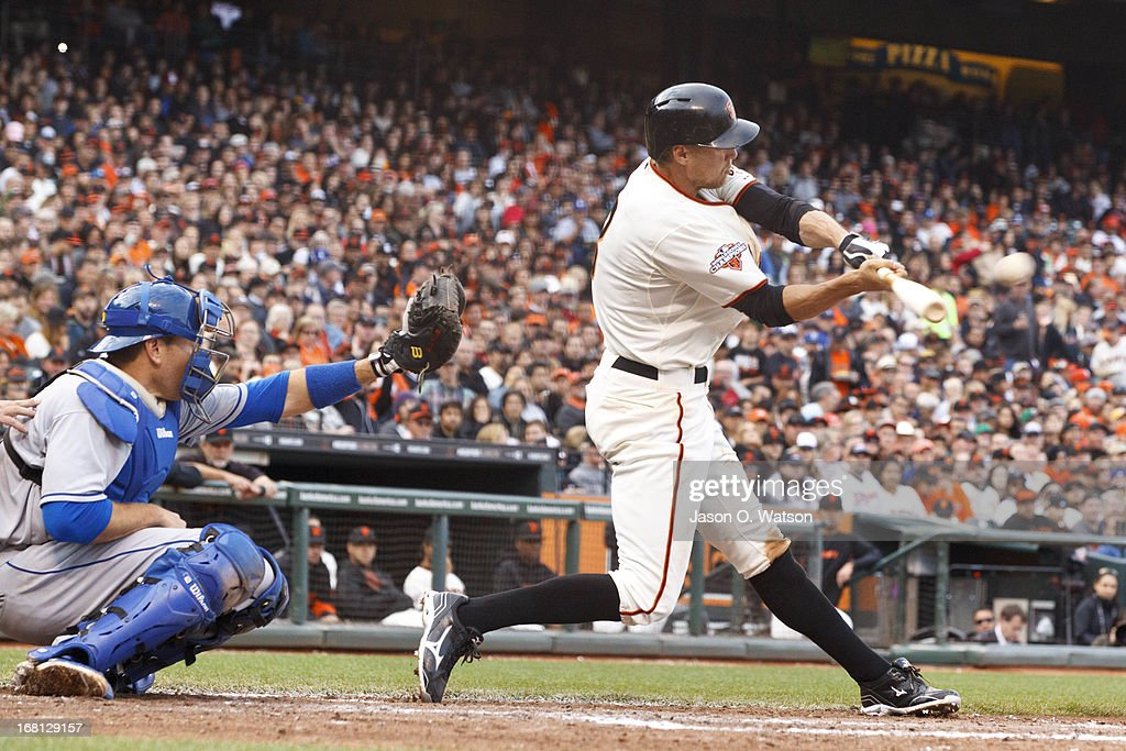 <a gi-track='captionPersonalityLinkClicked' href=/galleries/search?phrase=Hunter+Pence&family=editorial&specificpeople=757341 ng-click='$event.stopPropagation()'>Hunter Pence</a> #8 of the San Francisco Giants hits a two RBI double against the Los Angeles Dodgers during the fifth inning at AT&T Park on May 5, 2013 in San Francisco, California.